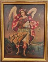 Csodálatos olaj, vászon festmény Peruból, Jerudiel arkangyal