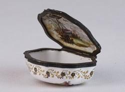 0J763 Antik kézifestett zománcozott fém szelence