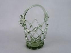 0M784 Régi művészi fújt üveg áttört kosár 23 cm