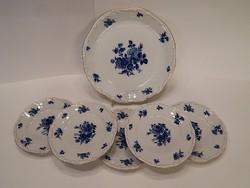 Zsolnay süteményes készlet kék rózsa mintával