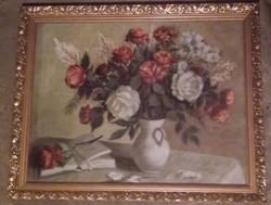 Virágcsendélet, gyönyörű antik keretben, üveg mögött