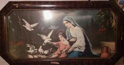 Vallási kép, festmény, különleges lakkozott, fa keretben
