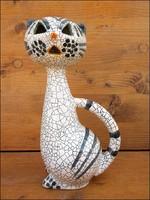 Art deco iparművész kerámia macska figura , magasság 22 cm.
