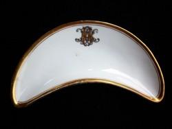 Nagyon ritka Családi monogrammos Fischer szignós csontos tányér