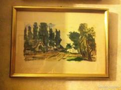 Rudnay Gyula: Falusi utca, akvarell, papír 13X24cm