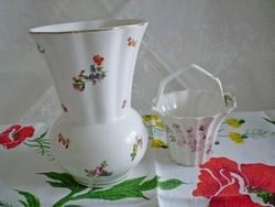 Nagyon régi KISPÉSZ porcelán vagy kerámia váza ajándék porcelán kosárral