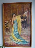 Anna Pavlova táncosnő portréja - Max Slevogt után - festette Rácz József