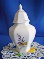 Hollóházi kicsi fűszertartó, urna jellegű fedeles tároló porcelán