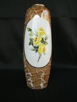 Hollóházi porcelán sárga rózsás nagy váza