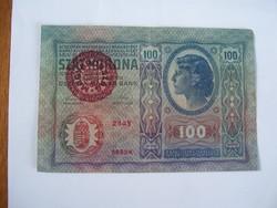 100 Korona 1912 MO Felülbélyegzéssel.