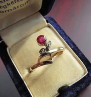 Klasszikus antik leveles bimbós 14 karátos arany gyűrű
