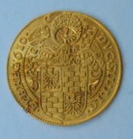 Arany dukát (1610) 14,00 g; D= 34 mm; d=1,00 mm.  F R A Ǭ D : G • I O H A N • C H R I S T • E T • G