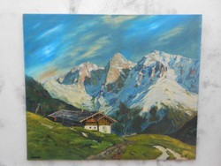 Alpesi táj.Olajfestmény jegyzett Osztrák alkotótól.