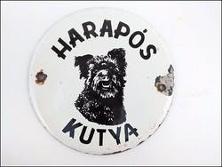 Harapós kutya régi zománc figyelmeztető  tábla