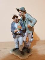 """Figyelem,kiárúsítás! """"Részegesek"""" kerámia mókás szoborpáros."""