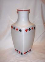 Ritka kártya mintás Hollóházi porcelán  váza 31 cm