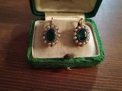 Antik arany 14Kt.  patentos  fülbevaló gyöngyökkel
