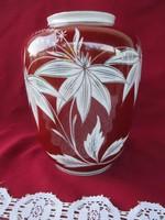 1799  Régi kézzel készült  bordó virág mintás váza  17x14 cm