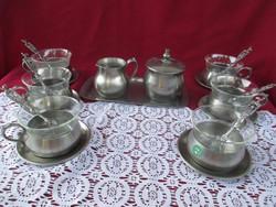 1799 6 sz.  Ritka szép vitrin minőségű ón és jénai kávés készlet