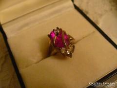 Szép rózsaszín köves gyűrű