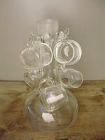 Antik ritka formájú,ágas üveg pálinkás készlet,dekantáló,Sosem használt!