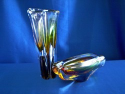 Különleges Muranoi üveg váza 22 cm magas hozzá tartozó hamutállal több, mint 2 kg!