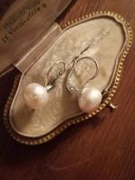 Gyöngyös fülbevaló ezüst patentzárral ag925
