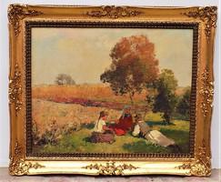 Gyertyányi Németh Gyula (1892-1946) Ebédidő c. festménye Eredeti Garanciával !!!