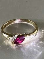 Rubin és gyémánt köves 14K-os arany gyűrű 17mm-17,5mm