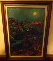 VOLKOV MIHAIL - ÉJSZAKA A HEGYEKBEN 46,5 X 34,5 cm olaj, farost