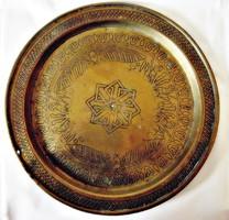 Antik perzsa mintás kézzel kalapált réz fali tál tányér