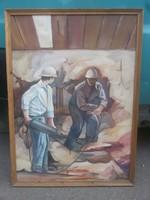 Bányászok - festmény.