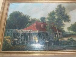 Olaj-vászon festmény  /vízimalmot ábrázol/