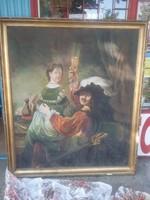 Rembrandt önarcképe Saskiával, régi minőségi másolat, nagy méretű olajfestmény