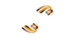 14K-os sárgaarany gyémánt köves 0,12 karátos fülbevaló