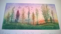 Eladó Gross Arnold színes, Búcsú a nyártól c. rézkarca + Aláírt, rajzolt Album!