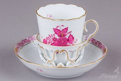 Herendi Apponyi Purpur mintás egyedi, nagy kávéscsésze aljjal