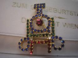 Zafír,rubint,smaragd színű ékkövekkel,bross ritkaság