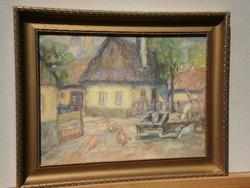 Ismeretlen festő (20.sz.közepe) : Gémeskút a faluban