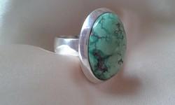 Köves ezüst gyűrű hatalmas zöld türkiz kővel