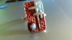 Zománcozott ezüst gyűrű türkizzel