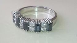 Ezüst gyűrű onixal es cirkonkövekkel 925