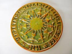 Zsolnay Eozin 1970 Nemzetközi. Népt. Fesztv. Plakett