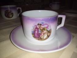 Régi Zsolnay jelenetes teáscsésze és alátét 4.