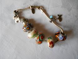 Ezüst karkötő ezüst Pandora charmokkal