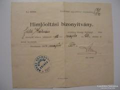 Himlőoltási Bizonyitvány 1912 Orosháza.