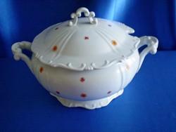 Régi Zsolnay nagy méretű leveses tál tetővel