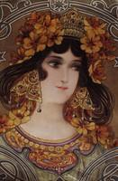 Szecessziós Art Nouveau színezett litográfia korabeli 1899 ritka Mary Golay