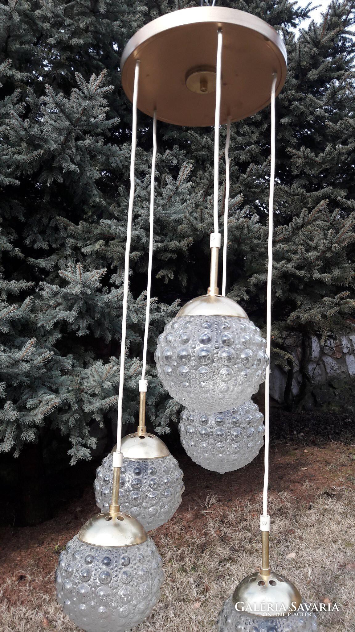 SKANDINÁV RETRO 5 GÖMBÖS CSILLÁR MENNYEZETI LÁMPA - Lámpa, csillár  Galéria Savaria online ...